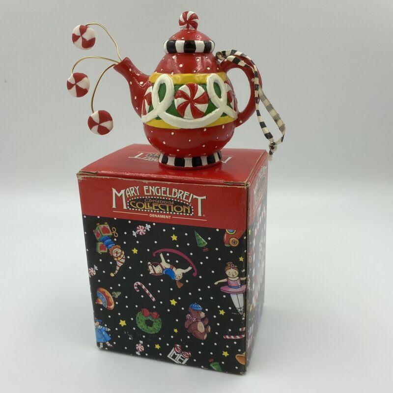 Kurt Adler Mary Engelbreit Santas World Christmas Ornament Peppermint Teapot