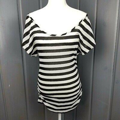 BKE Boat Neck Tunic Stripe Shirt Top Short Sleeve Stretch Womens Sz Medium Black