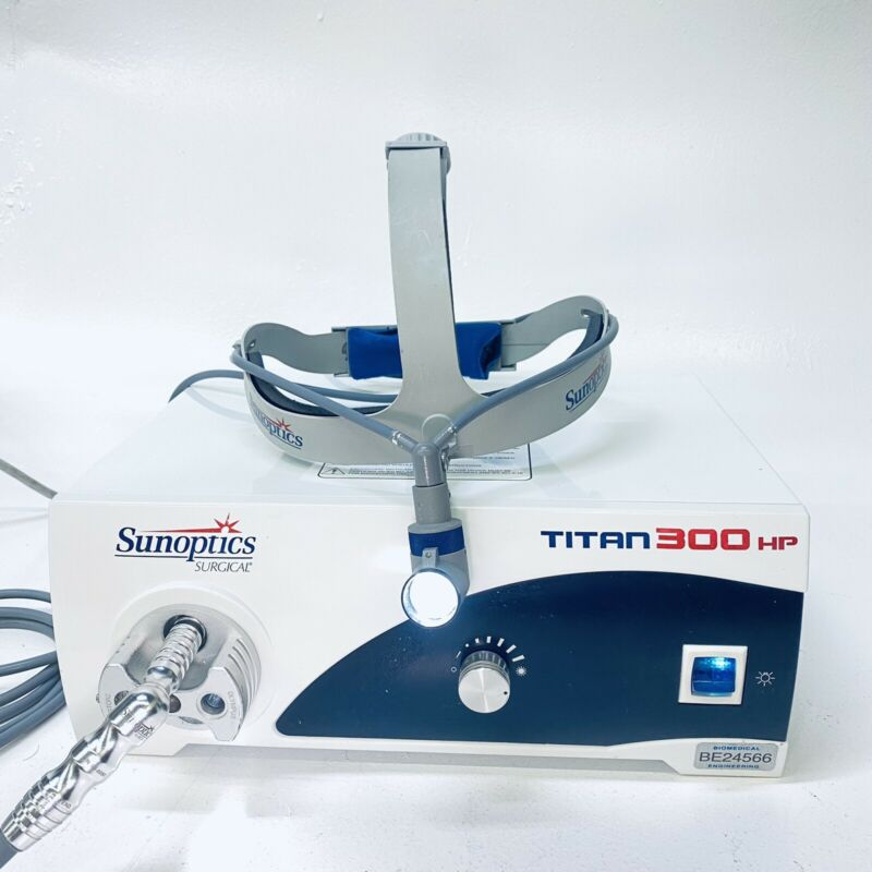 Sunoptics Surgical Titan 300HP Light Source S300T w/ SG-0080 Surgical headlight