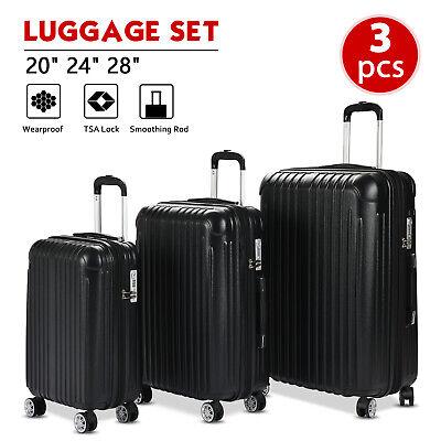 3PCS Luggage Set Travel Bag ABS Spinner Suitcase w/ TSA Lock Black 20