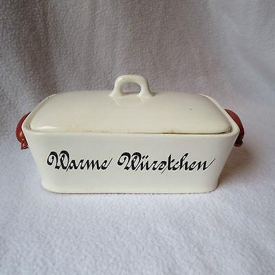 schöne alte Keramik Deckeldose Warme Würstchen Dose Würstchendose gemarkt Rar