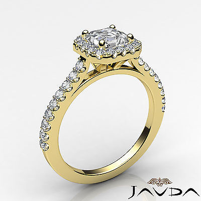 Asscher Diamond Engagement GIA H VS2 Shared Prong Set Ring 18k Yellow Gold 1Ct 1
