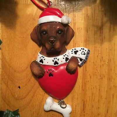 Dark Brown Dog! POLARX Personalizable Christmas Tree Ornament Free Shipping!
