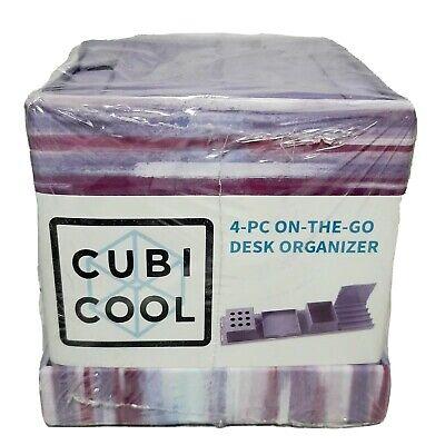 Cubi Cool Desk Pen Caddy Organizer - 4 Piece Set School Office Storage Holder