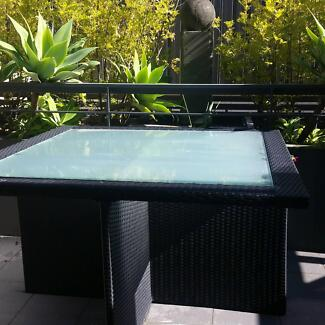 Black Wicker  tempered glass top table 130cm x 130cm Pagewood Botany Bay Area Preview