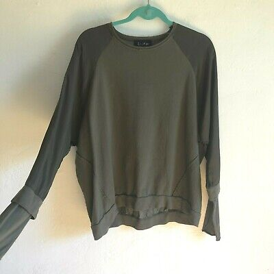 Designer Andrea Ya'aqov Layered Sweatshirt green contrast Thumb holes Size Small