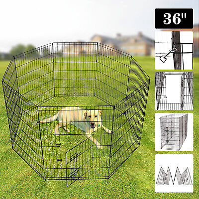 36'' Tall Dog Playpen Crate Fence Pet Play Pen Folding Exercise Cage 8 Panel