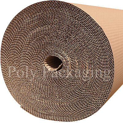 900mm x 75m x 2 Rolls CORRUGATED CARDBOARD PAPER ROLLS Postal Packaging Parcels