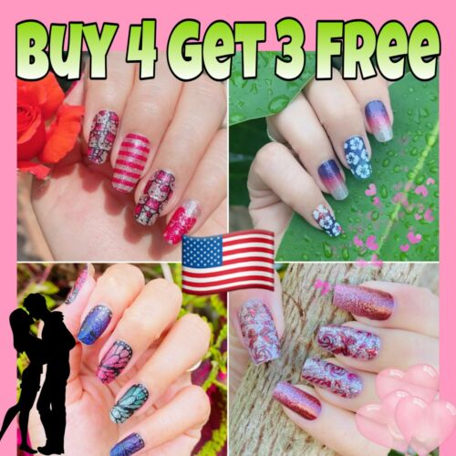 Color Nail Polish Strips BUY 4 GET 3 FREE Valentine Day Stickers Nail Wraps