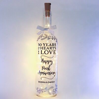 30th Pearl Wedding Anniversary Gift Bottle Light, Personalised, 30 Year, Parents ()