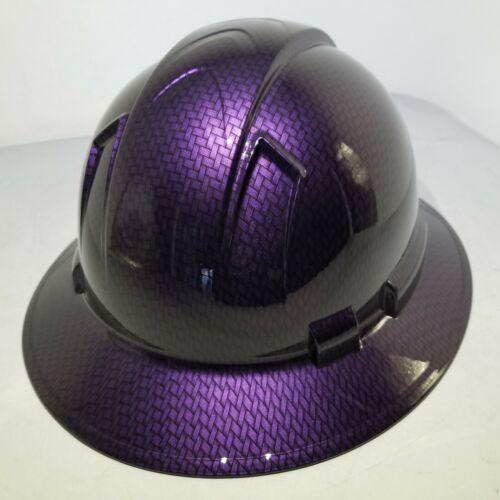 Hard Hat FULL BRIM custom hydro dipped , OSHA MOPAR PLUM CRAZY CARBON FIBER 2