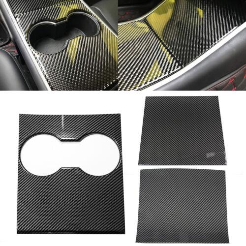 Car Parts - Carbon Fiber Style Center Console Cup Holder Panel Cover Trim fit Tesla Model 3