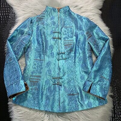 Dragon Silk Hangzhou China Embroidered Asian Artsy Jacket Coat 100% Silk Sz Med Dragon Silk Coat