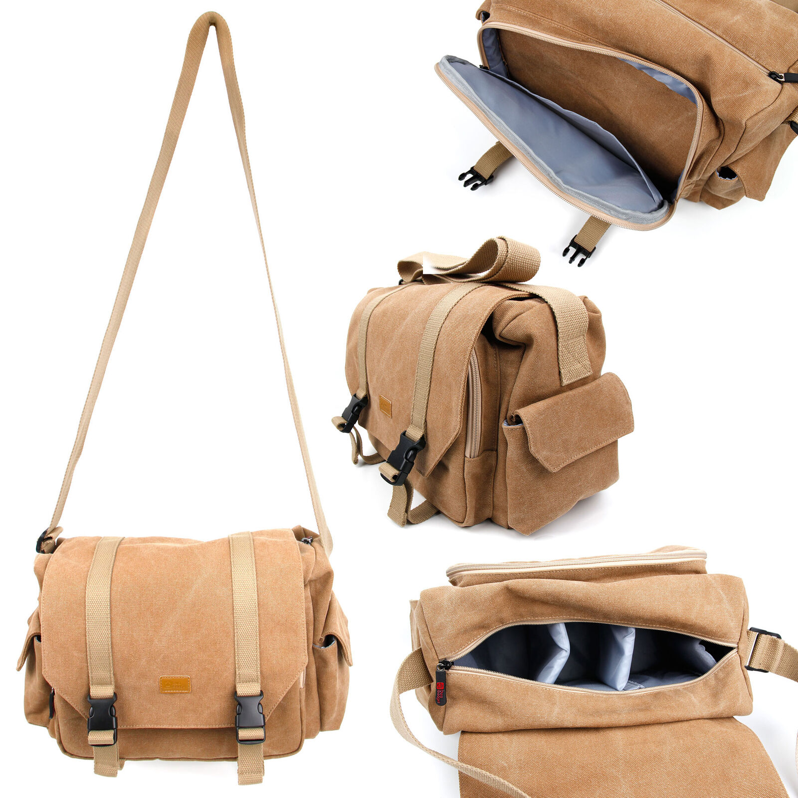 Light Brown Canvas Carry Bag For Canon Powershot Sx530 Hs Sx610 Hs Sx710 Hs