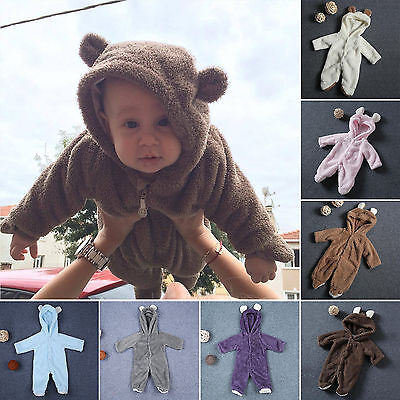 - Newborn Baby Toddler Kids Fleece Romper Hooded Jumpsuit Bodysuit Outfits Clothes