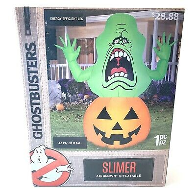 *NEW* GEMMY Ghostbusters LED Airblown Slimer On Pumpkin 4.5FT Inflatable