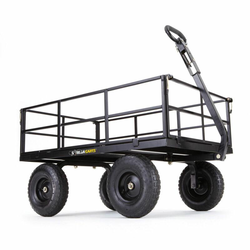 Gorilla Cart GOR1200-COM 9 Cubic Feet Heavy Duty Steel Utility Wagon Cart, Black