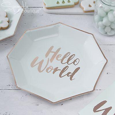 HELLO WORLD BABY SHOWER PLATES x 8 - Metallic Rose Gold Details - RANGE IN SHOP (Baby Shower Shop)