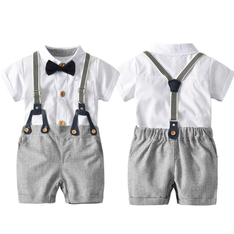 Baby Outfit Set Kombination Jungen Hemd Shorts Hosen Kinderanzug mit Hosenträger