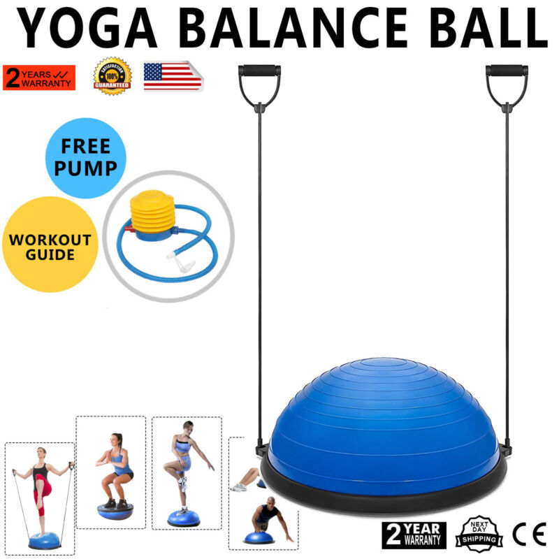 """23"""" Yoga Half Ball Balance Trainer Fitness Strength Exercise Gym Workout w/ Pump"""