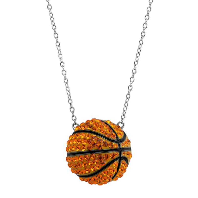 Crystaluxe Basketball Pendant with Crystals in Sterling Silver
