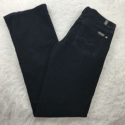 7 for all Mankind Boot Cut Corduroy Jeans Women's Sz 25 Black Cords - Boot Cut Cords