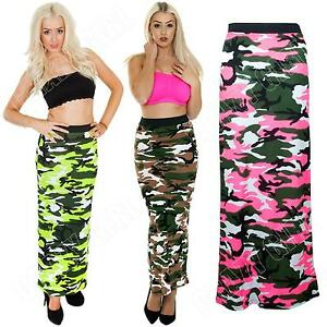 New-Womens-Ladies-Bodycon-Camo-Camouflage-Print-Long-Tube-Gypsy-Maxi-Skirt-Dress