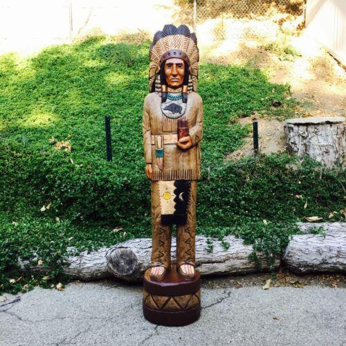 John Gallagher Carved Wooden Cigar Store Indian 6 ft Bear Knife