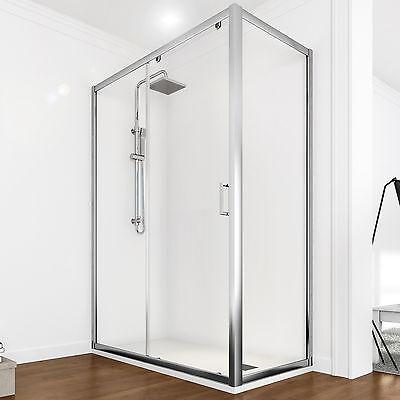 Cabina box doccia angolare vetro fisso cristallo trasparente apertura scorrevole