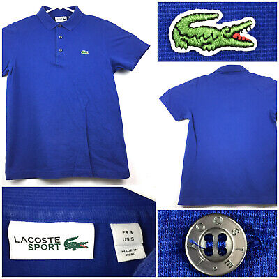 Lacoste Sport Mens Size 5 (38 in Chest) Blue Croc Embroidered S/S Polo Shirt