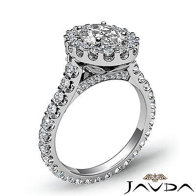 2.5 ct Oval Diamond Engagement 14k White Gold F VS2 Clarity GIA Halo Pave Ring 2