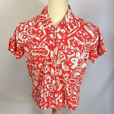 Vtg 50S Brent Hawaiian Loop Collar Camp Surf Sportswear Shirt Sanforized Tiki