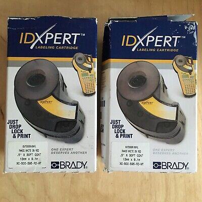 2x Brady Idxpert Labxpert Series Indoor-outdoor Vinyl Labels Xc-500-595-rd-wt