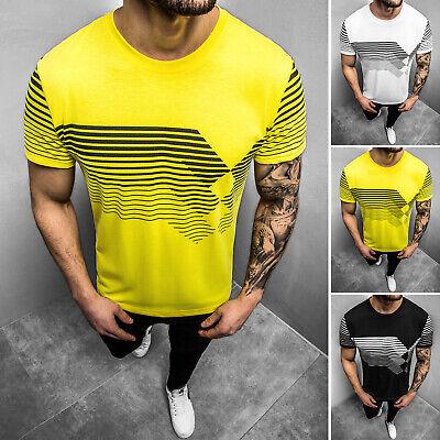 T-Shirt Kurzarm Mit Aufdruck Rundhals Casual Slim Fit OZONEE JS/KS2058Z Herren