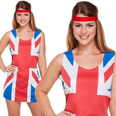 Spice Girl Kostüm (Adult Ladies 90s Union Jack Fancy Dress Costume Ginger Spice Girls Outfit New)