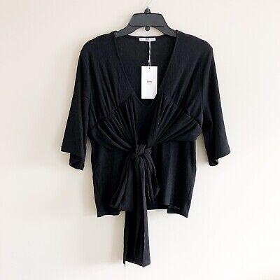 Zara Short Sleeve Black Wrap Tie Blouse Top Sz M NWT