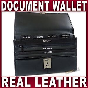 Black REAL LEATHER TRAVEL WALLET Document organiser passport holder LOCKABLE