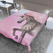 Dreamscene Large Unicorn Faux Fur Throw Fleece Blanket Thick Warm - 150 x 200 cm