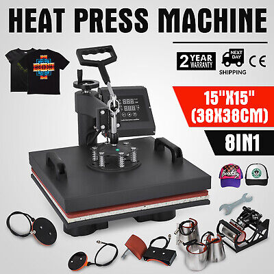 "8IN1 Combo T-Shirt Heat Press Transfer 15""x15"" Printing Machine Swing Away"