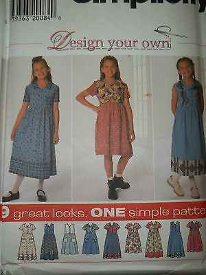SIMPLICITY # 7561 - GIRLS (9 STYLE) CUTE CONTRAST PULLOVER DRESS PATTERN 7-16 uc (Cute Girls Dresses 7 16)