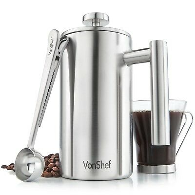 VonShef 6 Cup French Press Hypocritical Walled Stainless Steel Cafetiere Coffee Maker