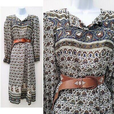 Vintage 70s white floral Indian block print silk tunic Kaftan Dress 10 12 M