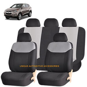 Gray Elegant Airbag Compatible Seat Cover Set For Hyundai