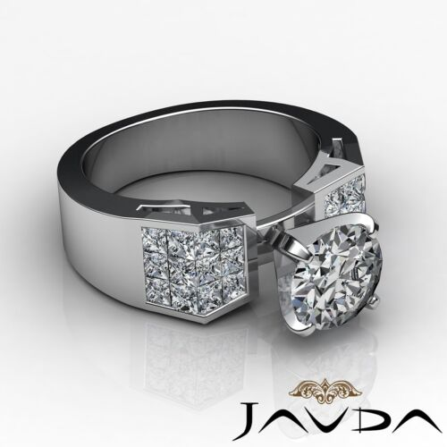 2.34ct Round Cut Diamond Women's Engagement Solid Ring GIA F SI1 14k White Gold 2
