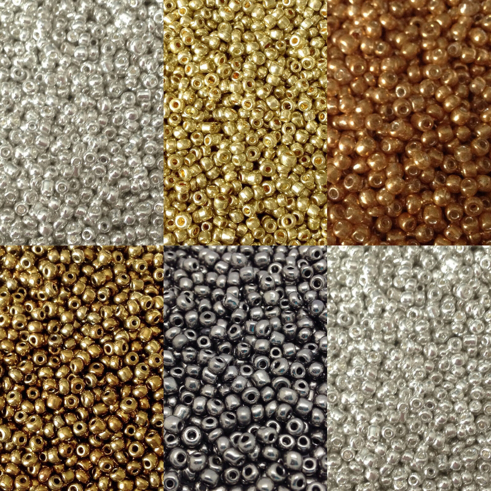 50g glass seed beads - Metallic, size 11/0 (approx 2mm) - choice of colours