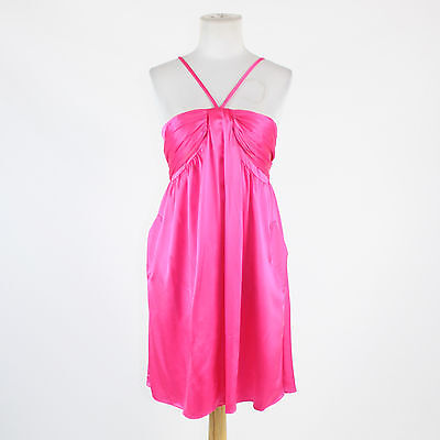 (Pink silk satin MOLLY B. spaghetti strap back tie above knee shift dress 6)