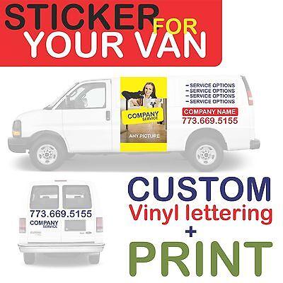 van car vehicle custom vinyl decal lettering stickers business signs + PRINT