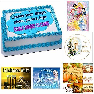 EDIBLE CAKE TOPPER  PHOTO IMAGE CUSTOM/PERSONALIZED ANY IMAGE (ENGLISH/SPANISH) (Custom Cake Topper)