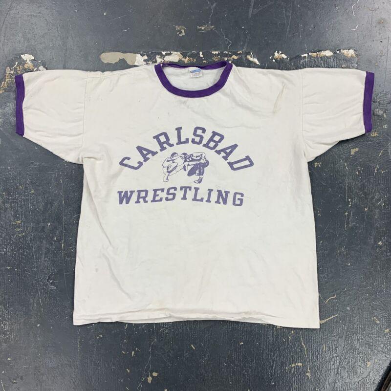Carlsbad Wrestling 70s Blue Bar Champion Ringer T Shirt Vtg USA XL Distressed