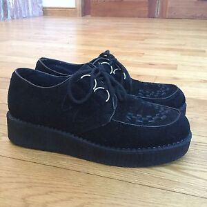 Women's New Look Black Creepers 11 Platform Shoes Oxford Heels
